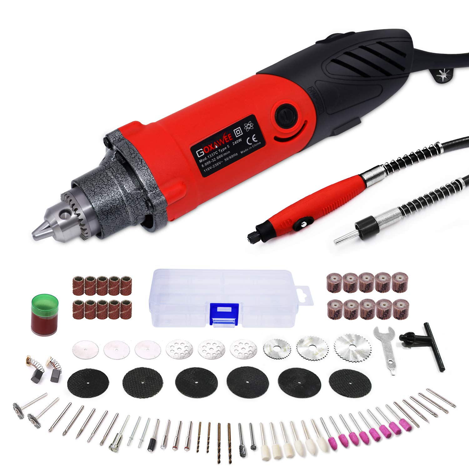 GOXAWEE Rotary Tool Kit 240W/2.2 Amp - 82Pcs Multifunctional Power Tool Set with 1/4 inch Universal 3-Jaw Chuck (0.5-6 mm Collet), 6 Step Variable Speed, Advanced Flex Shaft & Versatile Accessories