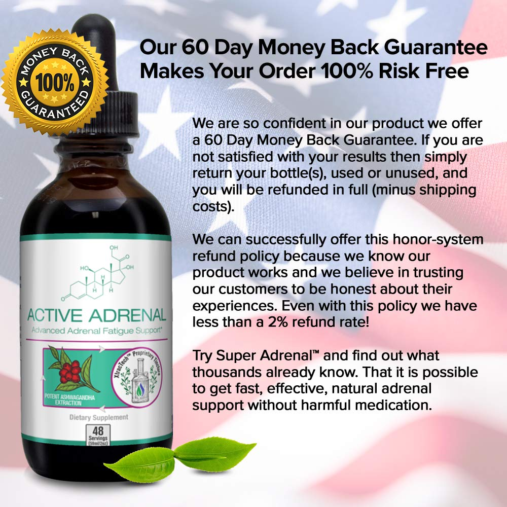Active Adrenal - Advanced Adrenal Fatigue Supplement - All-Natural Liquid Formula for 2X Absorption - Ashwagandha, B-Vitamins, Magnesium and More