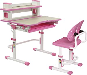 Kids Table and Chair Set with Bookshelf and Drawer - Adjustable Height Desk for Kids, Pink Writing Desk and Drawing Table for Homeschool and Classrooms