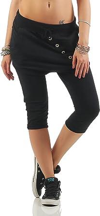 Da Donna con elastico 3//4 Pantaloncini Corti Pantaloni Capri Pantaloni elastici tasche