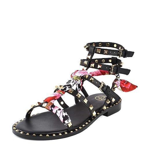 prezzo più basso 691ee afec4 Ash Footwear Pax Sandali Piatti, Sandali in Pelle Nera ...