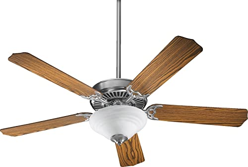 Quorum International 77525-9565 Capri III 52-Inch 2 Light Ceiling Fan, Satin Nickel Finish with Faux Alabaster Glass Light Kit and Reversible Blades