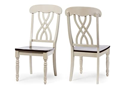 Baxton Studio Set of 2 Newman Chic Country Cottage Antique Oak Wood and  Distressed White Dining - Amazon.com - Baxton Studio Set Of 2 Newman Chic Country Cottage