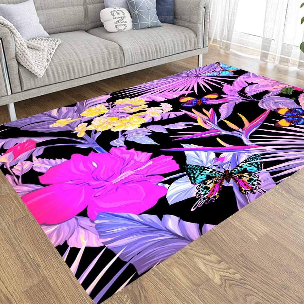 Capsceoll 3x5 Area Rugs Outdoor Area Rug Pattern Background Tropical Plants Flowers Colored Vector In Neon Colors Isolated Black Play Area Rugs For Bedroom Living Room Kitchen Kitchen Dining