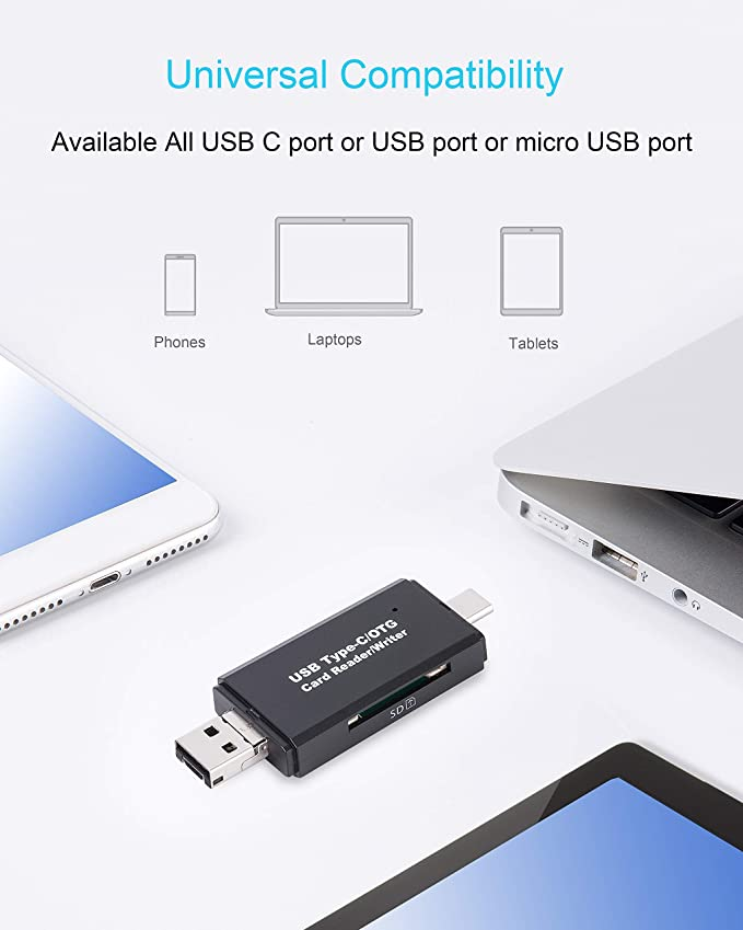Black Memory Card Reader,Lzcat USB c Type C TF Card Reader USB OTG to USB 2.0 Adapter with standard USB Type C and Micro Male Connector for PC Notebook and Tablet with OTG Function