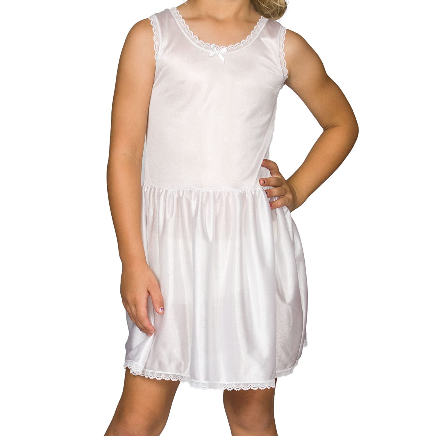 I.C. Collections Big Girls White Simple Nylon Slip, 10 New ICM 000472-WHC