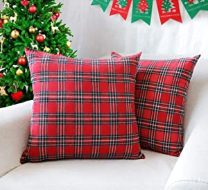 4TH Emotion Set of 2 Christmas Scottish Tartan Plaid Throw Pillow Covers Cushion Case Polyester for Farmhouse Home Decor Red and Green, 20 x 20 Inches