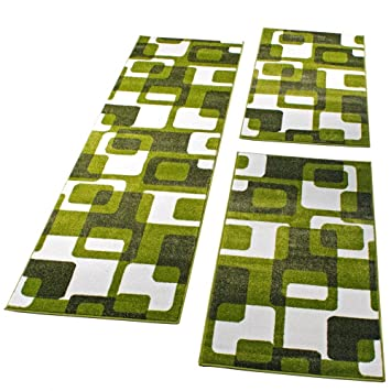 Bettumrandung Läufer Teppich Meliert Design Lila Schwarz Creme Läuferset 3 Tlg.