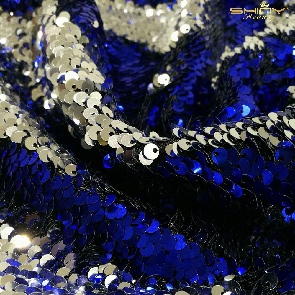 for Xmas Decor Tablecloth Royal Blue Linen 3 Feet 1 Yards-Royal Blue-Sequin Fabric by The Yard Blue Sequin Fabric