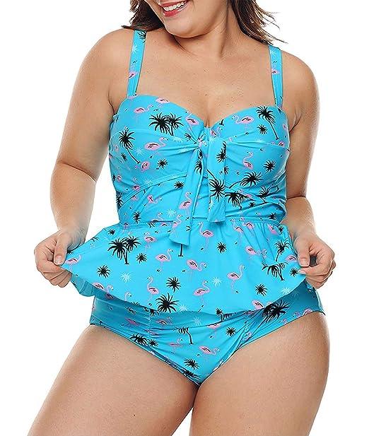 d56e84a622 WoldGirls Women Plus Size Two Pieces Tankini Swimsuits Strap Peplum Bathing  Suit Blue