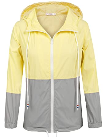 9a67d9f829e4b3 Damen Jacke Windbreaker Übergangsjacke Wasserabweisend Regenmantel  Regenjacke mit Kapuze , Farbe - Gelb , Gr.