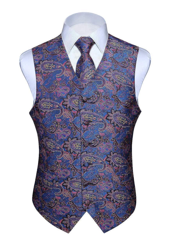 HISDERN Mens Classic Paisley Floral Jacquard Waistcoat /& Necktie and Pocket Square Vest Suit Set