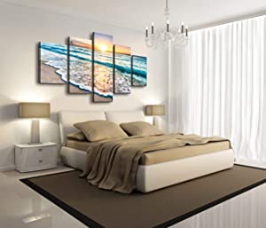 Cao Gen Decor Art-S58810 5 Panels Blue Beach Sunrise White Wave Pictures Painting on Canvas Wall Art Stretched and Framed Seascape Giclee Canvas Prints for Home Office Decorations X Large Artwork