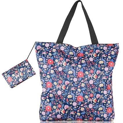 Bolsas Reutilizables Compra Grande 17L,BolsoTote Mujer Azul Floral,Bolso Playa Impermeable Ligero con Pequeña Bolsa Pouch Cremallera