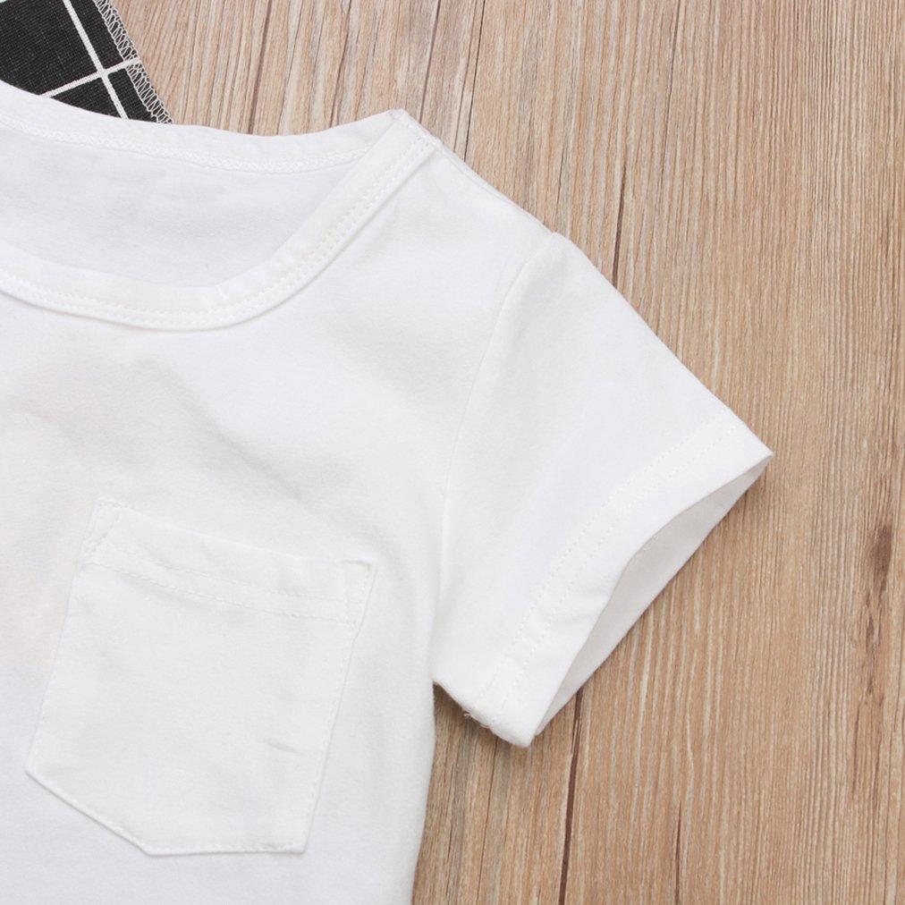 VISGOGO 1-6 Yrs Kids Baby Girl Summer Outfits Set White T-Shirt Tops Stripe Skirt Dress Clothes 2PCS