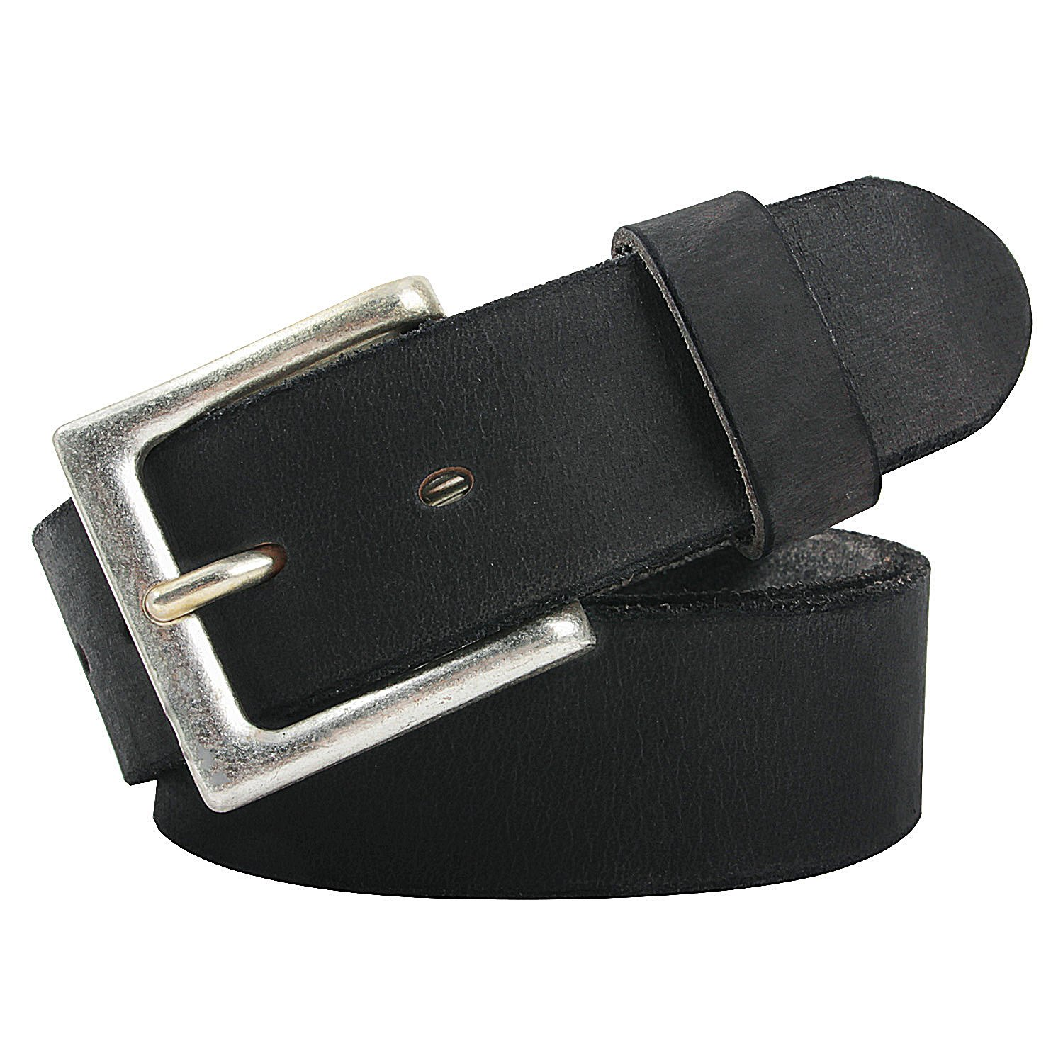 NPET Mens Leather Belt Full Grain Vintage Distressed Style Snap on Strap 1 1/2'' Wide (44 for 42'' waist, Black with Silver Buckle)