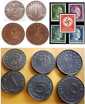 German Nazi coin 2 Reichspfennig 1940 E copper with swastika  RARE
