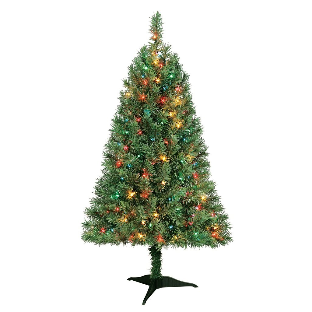 Holiday Time Pre-Lit 4' Indiana Spruce Green Artificial Christmas Tree