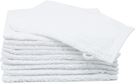 ZOLLNER 10 Manoplas de baño de Rizo algodón 100%, 16x21 cm, Blancas: Amazon.es: Bebé