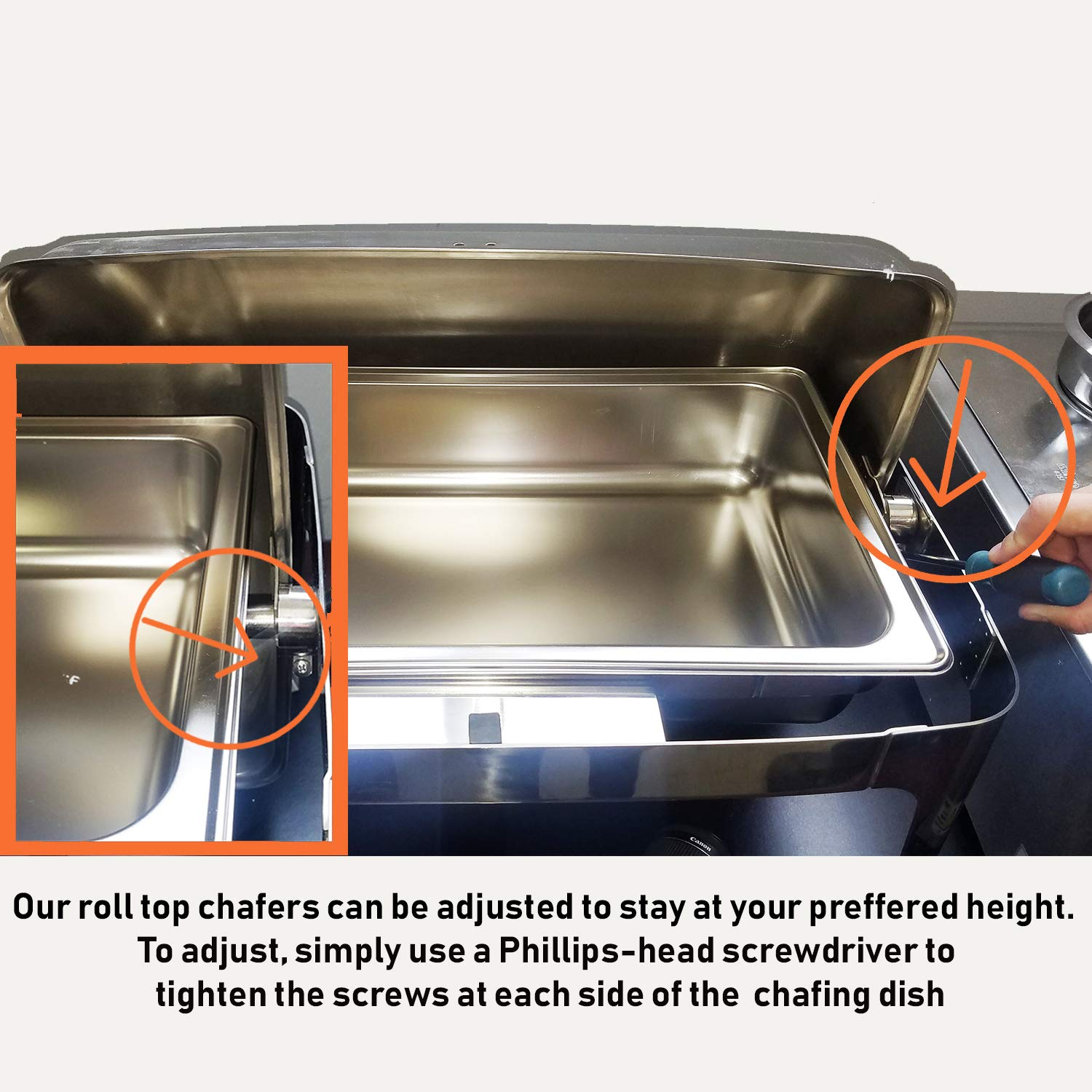Tiger Chef 6 Quart Stainless Steel Round Roll Top Chafer, Chafing Dish Set With 3 Serving Tongs And 6 Chafing Dish Fuel Gels Burns 2.5 Hours