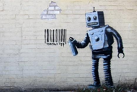 Banksy Barcode Robot Graffiti Stencil Street Art Urban Spray Paint Artist Poster 18x12