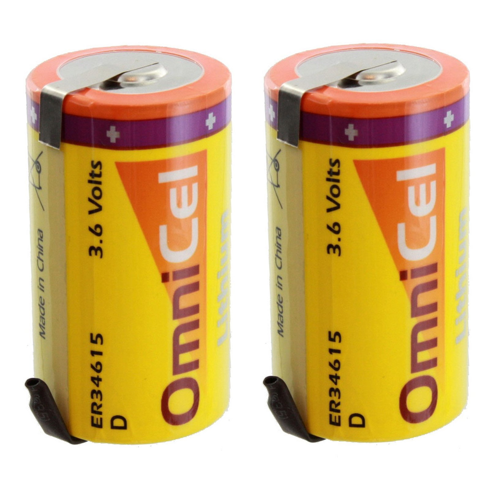 2x OmniCel ER34615 3.6 Volt 19 Ah D High Energy Lithium Battery with Tabs For Tracking Buoys, Location GPS, GSM, ARGOS, Signal lamp,Earthquake tester, Numerical Control Tool, Taximeter