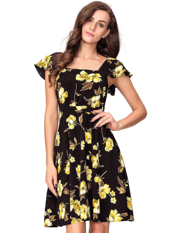 e709eaa7328a Amazon.com: Noctflos Women's Vintage Yellow Floral Square Neck A-Line  1950's Cocktail Dress M: Clothing