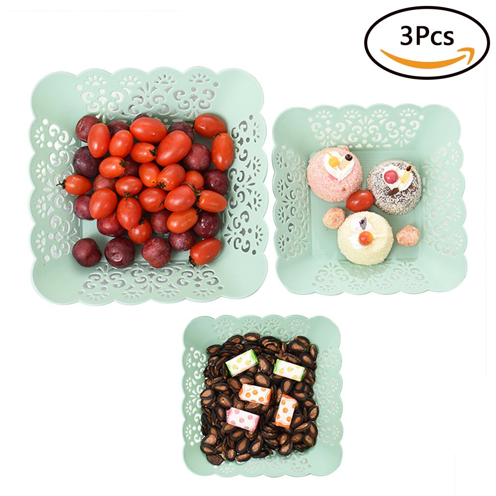 FEOOWV 3PCS Plastic Hollow Fruit Dish Creative Modern Minimalist Living Room Home Fruit Bowl Tea Basket