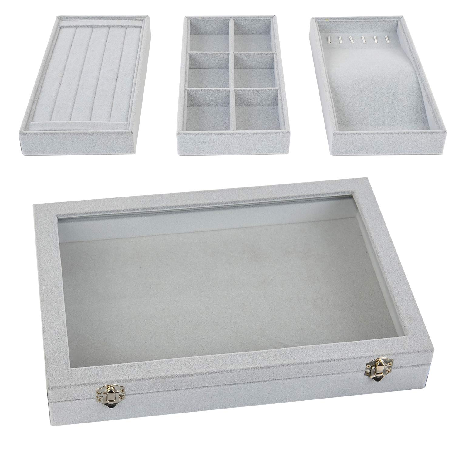 Stackable Jewelry Tray with Lid, Earring Drawer Insert Display Show Case, Dresser Organizer for Ring Stud, Necklace Holder Storage Box Chest