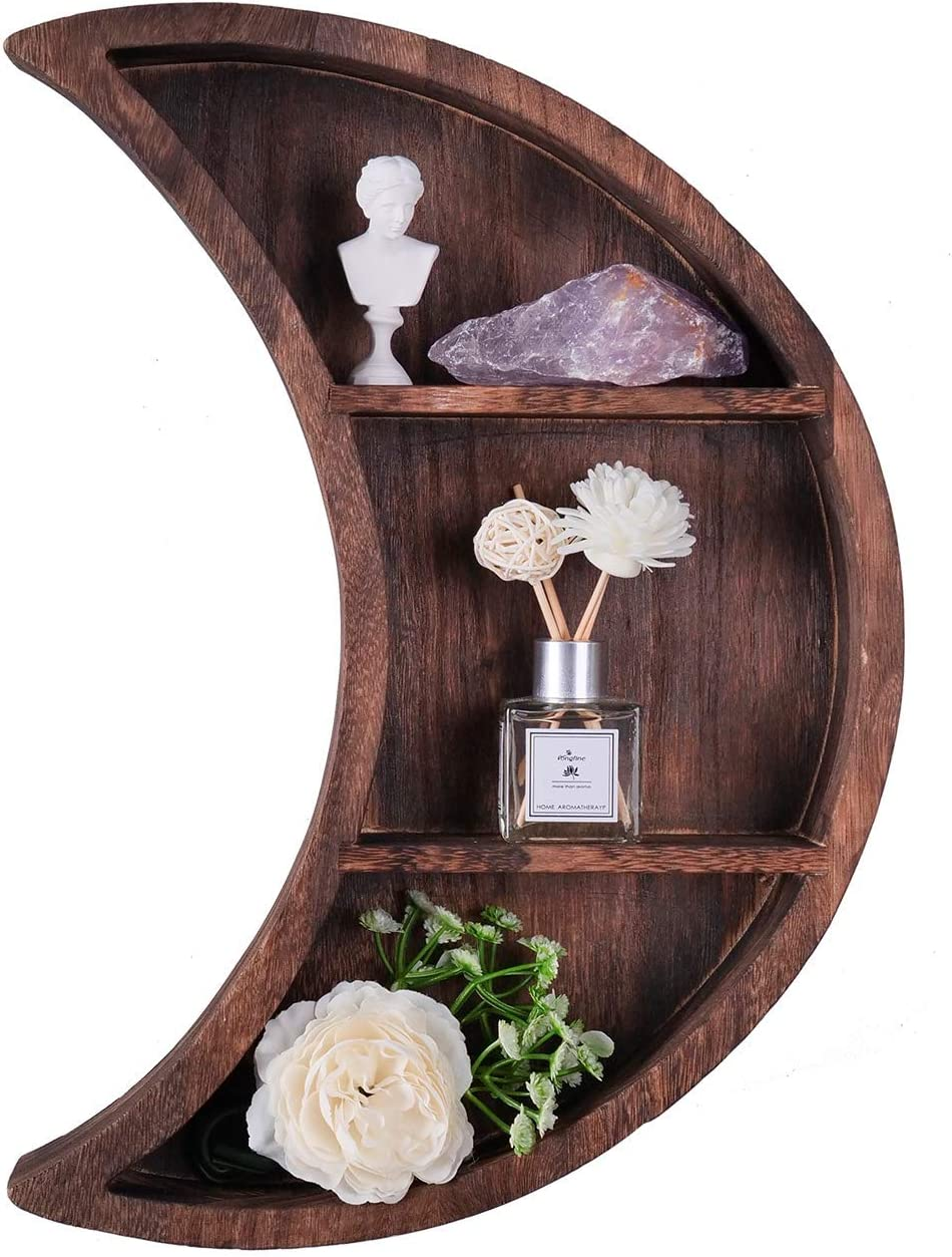 ELIAUK Floating Moon Wooden Shelves Reversible Crescent Moon Shelf,Home Wall Decor for Living Room Bedroom…