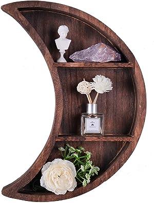 ELIAUK Floating Moon Wooden Shelves Reversible Crescent Moon Shelf,Home Wall Decor for Living Room Bedroom