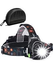 Torcia Frontale, Lampade da Testa Cobiz Waterproof USB ricaricabile Zoom Led Torcia Frontale, angolo 90 gradi Torcia Frontale Regolabile per Corsa, Ciclismo, Escursionismo, Campeggio, Lampade Frontali