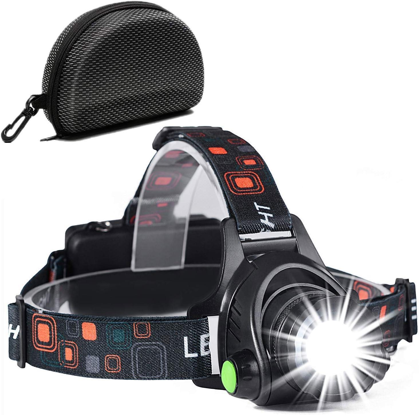 Linterna Frontal, a Prueba de Agua y Recargable con USB, Función de Zoom, Linterna Frontal de Led, Linternas Frontales Ajustables con Ángulo De 90 Grados para Correr, Andar en Bicicleta