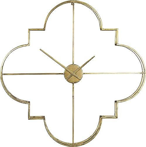 Creative Co-op EC0149 Brass Quatrefoil Shaped Metal Open Face Wall Clock