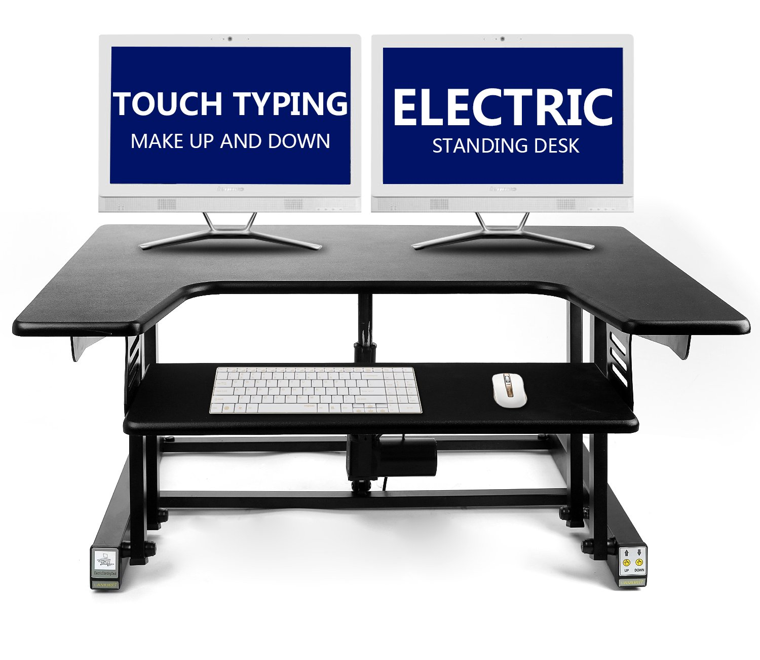 Electric Height Adjustable Sit Stand Desk Converter For Dual Monitor, Separate Keyboard & Mouse by LAMURO