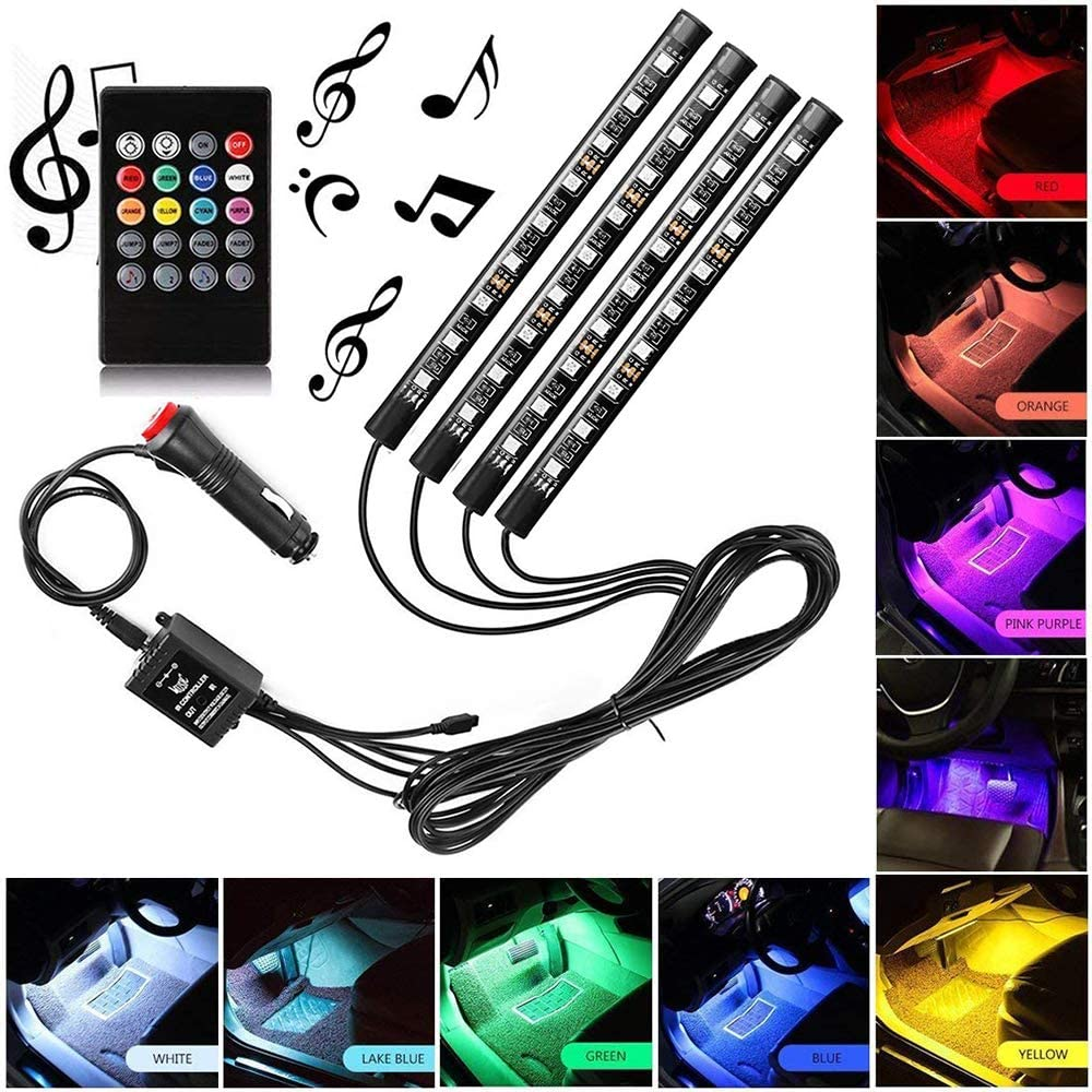 Sanhezhong Car LED Strip Light, 4pcs 36 LED DC 12V Multicolor Music Car Interior Light LED Under Dash Lighting Kit with Sound Active Function & Wireless Remote Control, Car Charger