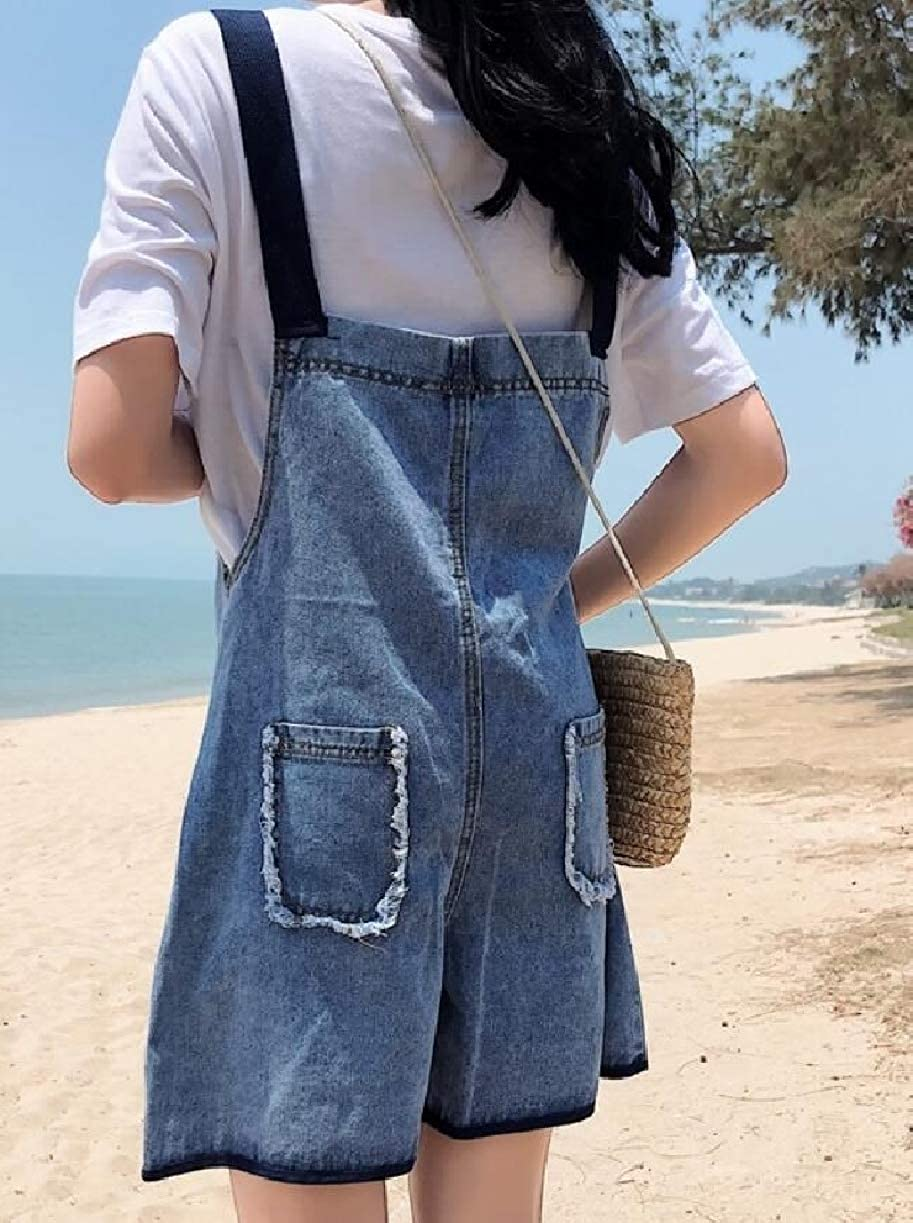 ZXFHZS Womens Denim Shorts Overalls Casual Loose Jean Jumpsuits