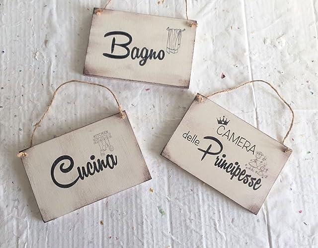 Cartello Da Appendere In Bagno : Targhette in legno per stanze: cucina bagno camera da letto