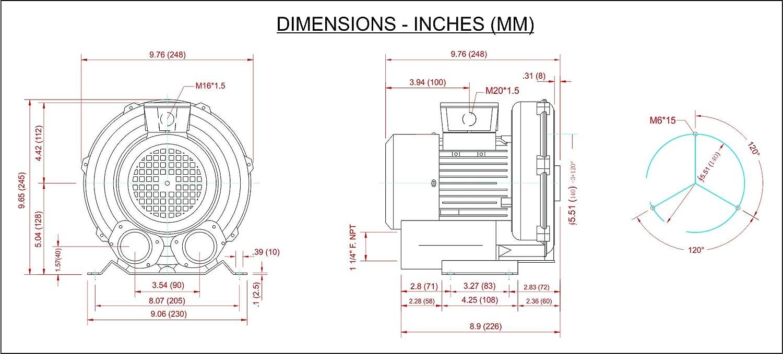 regenerative blower appl dg200 11ts, 1 60 115 230v  regenerative blowers features