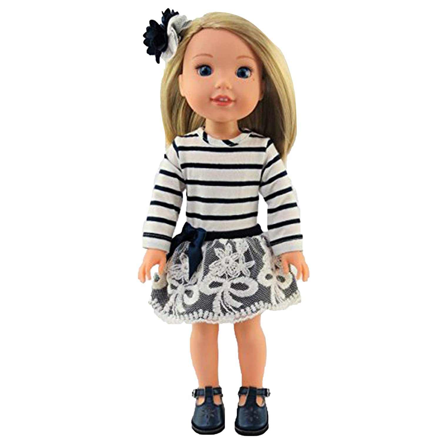 Navy and White Stripe Dress 14 Inch Doll Clothing Fits 14 Inch Wellie Wisher Dolls