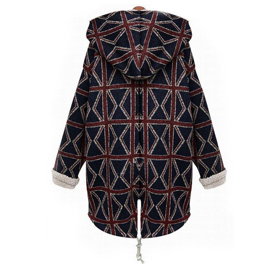 Amazon.com: Women's Winter Hooded Plus Velvet Plaid Coat Long ...