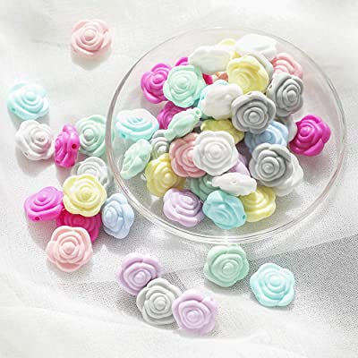Silicone Rose Flower Beads 20pc Color Mixing Series Food Grade Nursing Accessories DIY Necklace / Bracelet Baby Pacifier Chain Jewelry Teether Toys Infant Gifts: Toys & Games