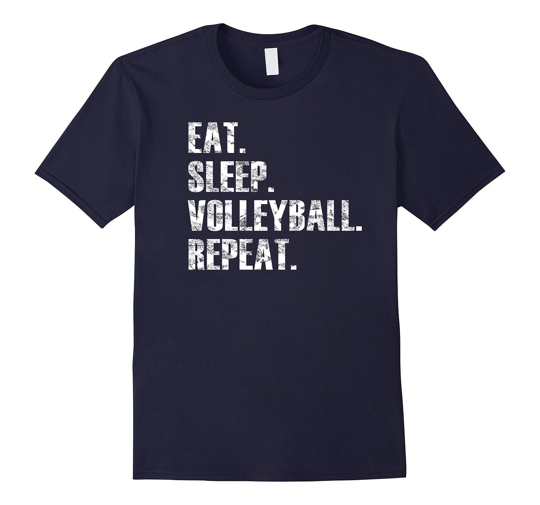 Eat Sleep Volleyball Repeat Distressed Beach T Shirt-FL