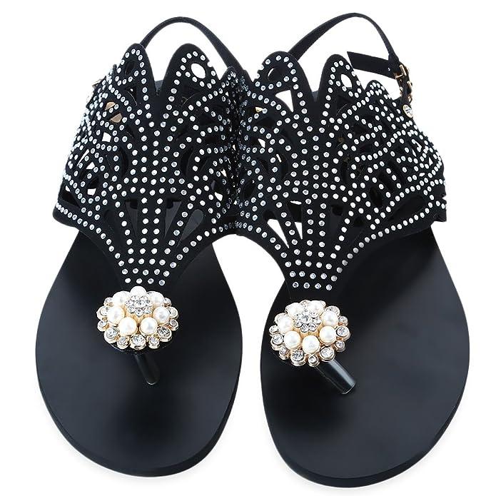 ee71d866e Rome Rhinestone Design Flip-Flop Flat Sandals for Women  Amazon.in  Shoes    Handbags