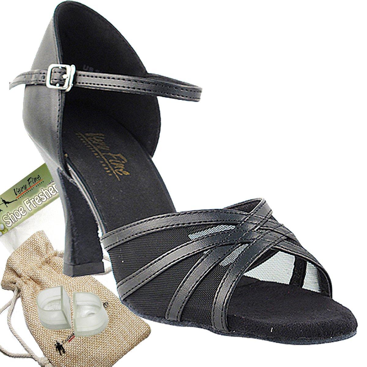 Women's Ballroom Dance Shoes Tango Wedding Salsa Dance Shoes Black Leather & Black Mesh 6027EB Comfortable - Very Fine 3'' Heel 8 M US [Bundle of 5]