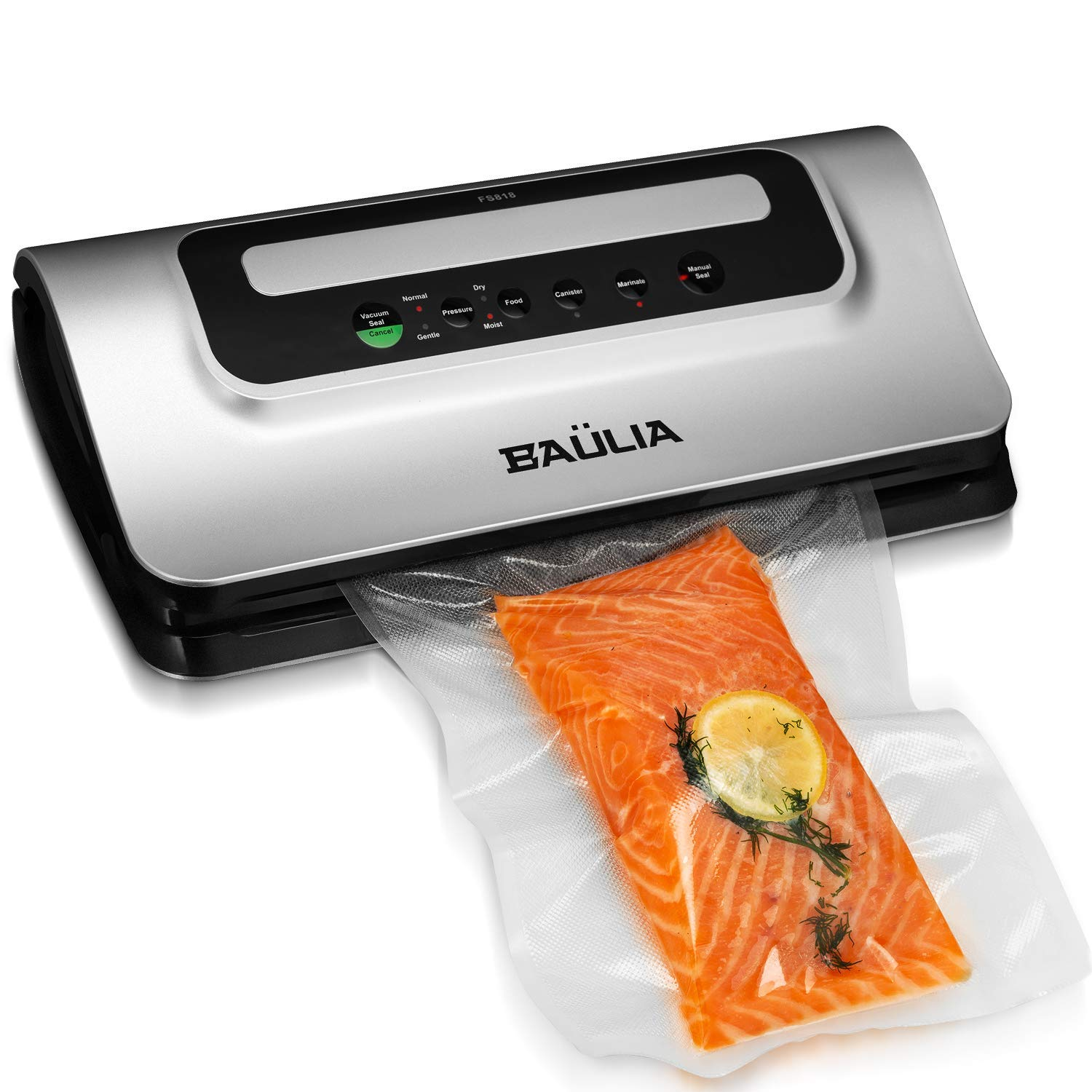 Baulia Automatic Vacuum Food Sealer – Air Sealing Machine for Food Preservation, Compact Design, Silver