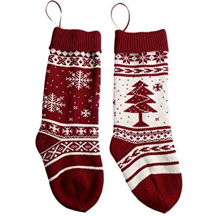 Amazon Solucky 18 Christmas Knit Stockings With Snowflake And