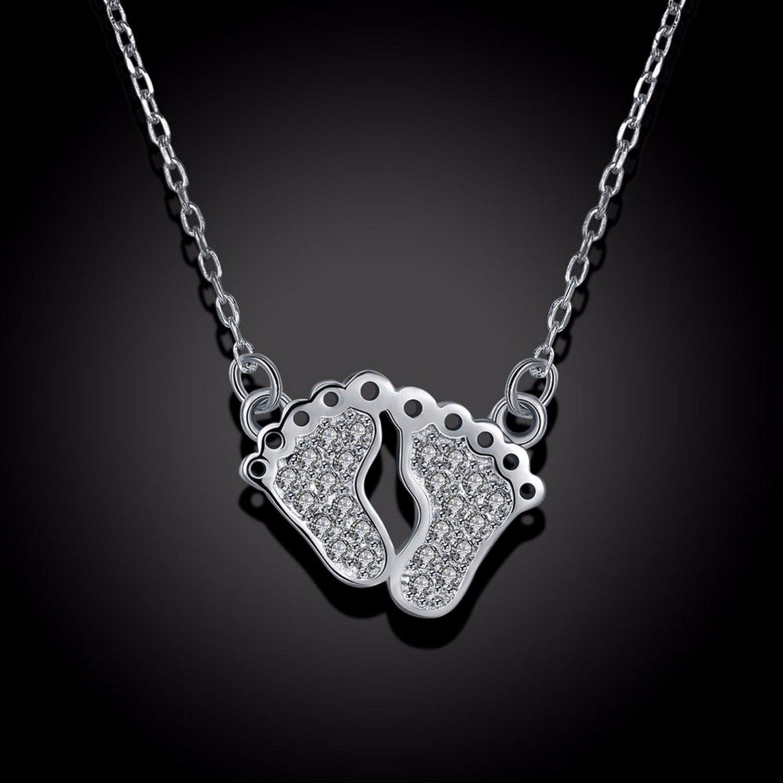 CS-DB Silver Necklaces Foot Feet Choker Chain Charm Pendants