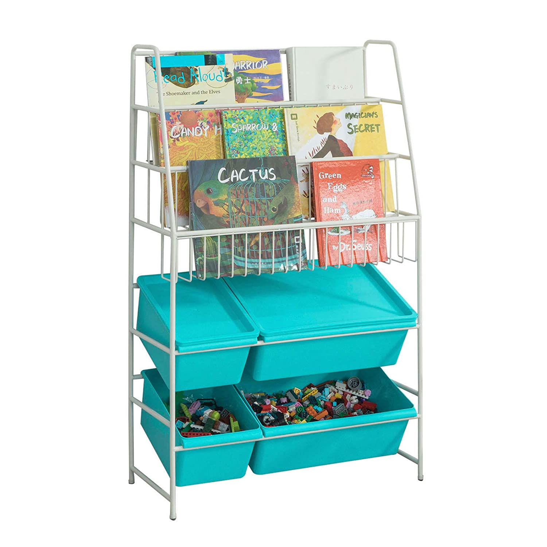 SoBuy® KMB07-B, Children Kids Bookcase Storage Display Shelving Unit Metal Organization Rack with Plastic Storage Boxes