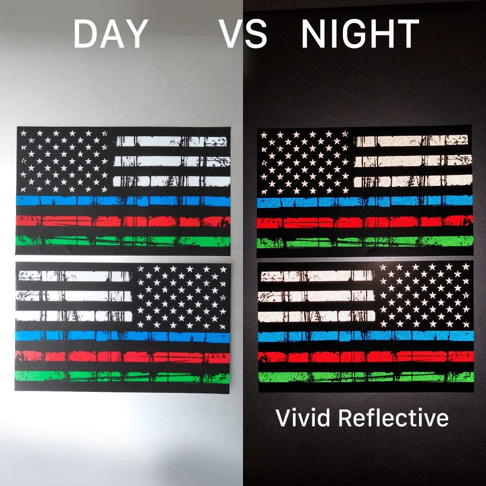 Support Police and Law Enforcement Officers Chengyuan American USA Flag Stickers for Cars Hard Hat Trucks Creatrill Reflective Thin Blue Line Decal Matte Black Normal /& Tattered 2 Pairs 3x5 in